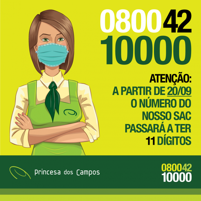 Expresso Princesa dos Campos: novo 0800 com 11 dígitos